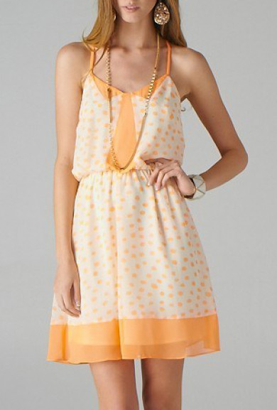 Dress - Lighthearted Amusement Spaghetti Strap Dotted Dress in Apricot