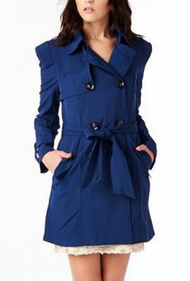 Coat - London Calling Double Breasted Belted Trench Coat in Cobalt Blue