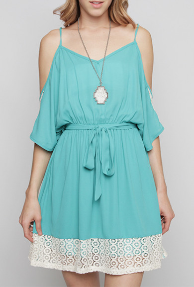Dress - Love Contract Lace Contrast Open Shoulder Dress in Turquoise