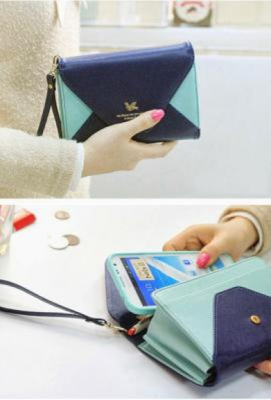 Wristlet - Love Letter Color Block Envelope Cell Phone Mint Navy Wallet Wristlet