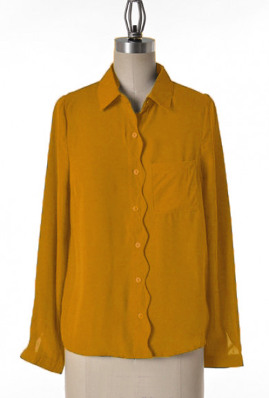 Blouse - Lunch Meeting Scallop Trim Long Sleeve Blouse in Mustard