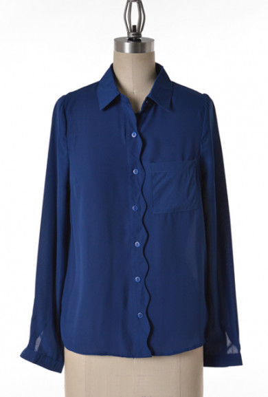 Blouse - Lunch Meeting Scallop Trim Long Sleeve Blouse in Navy