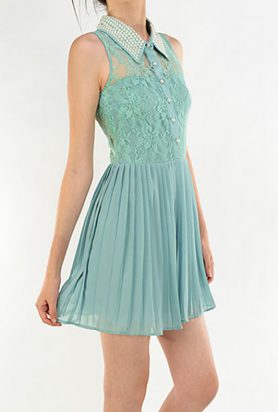 Dress - Magical Evening Sleeveless Lace Inset Pearl Collar Dress in Sage