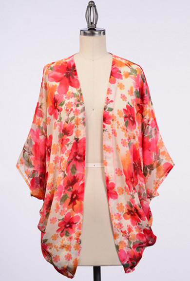 Cardigan - Meadow Blooms Floral Print Kimono Cardigan