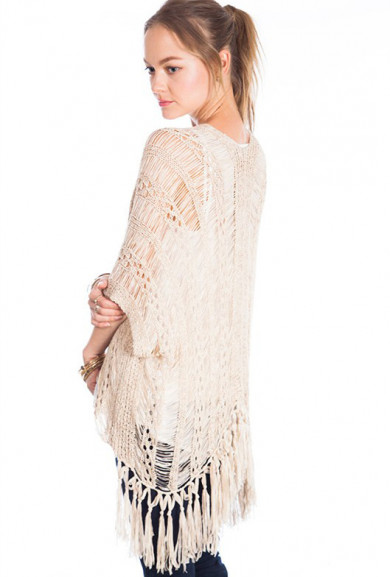 Sweater - Meadow Wanderlust Beige Distressed Fringe Knit Sweater Top