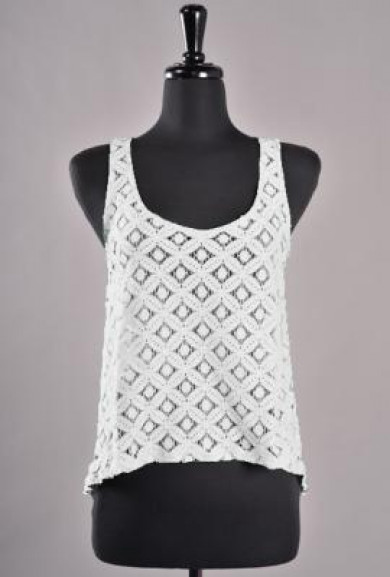 Top - Mellow Daylight Sleeveless Lace Bow Back Top in White