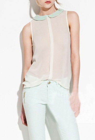 Blouse - Memory Lane Peter Pan Collar Sheer Sleeveless Blouse in Mint/Ivory
