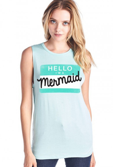 Graphic Muscle Tank - Mermaid Anonymous Muscle Tank in Mint