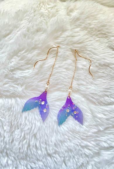 Mermaid Fins Dangling Front Back Earrings in Purple