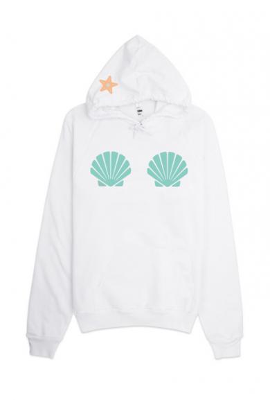 Hoodie - Mermaid Seashell Graphic Oversized Hoodie in Mint
