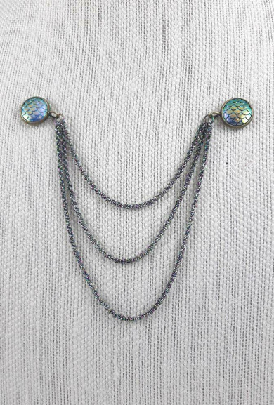 Collar Pin - Mermaid Iridescence Chain Collar/Lapel Pins