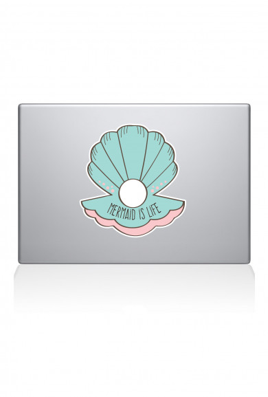 Decals - Mermaid is Life Clam Shell Mint Laptop/Tablet Decal