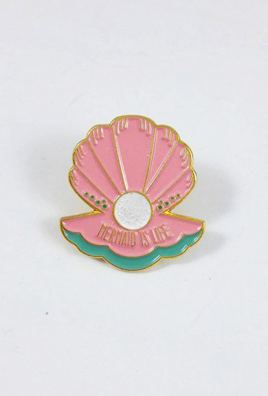 Lapel Pins - Mermaid is Life Clam Shell Pink Lapel Pin