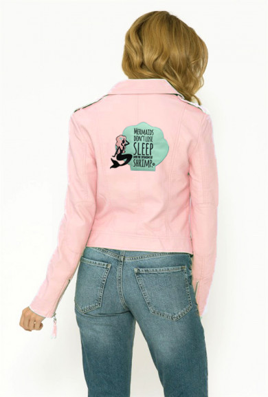 Jackets - Quirky Mermaid Moto Jacket in Pink