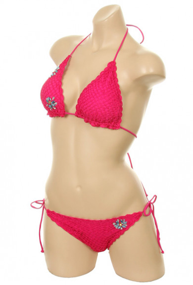 Bikini Set - Mermaid's Kiss Crochet Scallop Edge Fuchsia Triangle Bikini Set