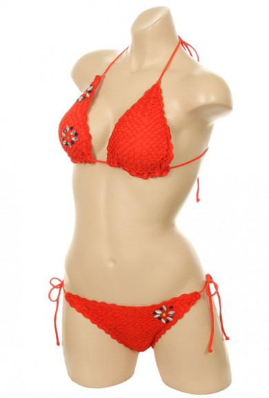Bikini Set - Mermaid's Kiss Crochet Scallop Edge Sunset Orange Triangle Bikini Set