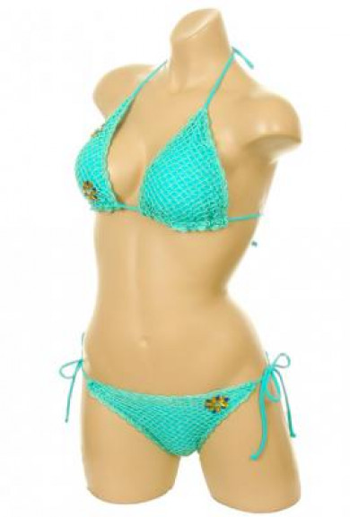 Bikini Set - Mermaid's Kiss Crochet Scallop Edge Sea Foam Triangle Bikini Set