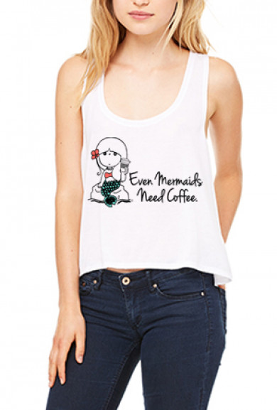 Tank Top - Mermaids Need Coffee Flowy Crop Tank Top in White