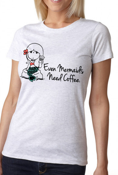 Graphic Tee - Mermaids Need Coffee Graphic Tee in Vintage White