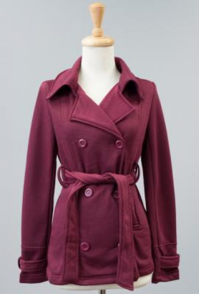 Coat - Metropolitan Sophistication Double Breasted Belted Coat in Wine