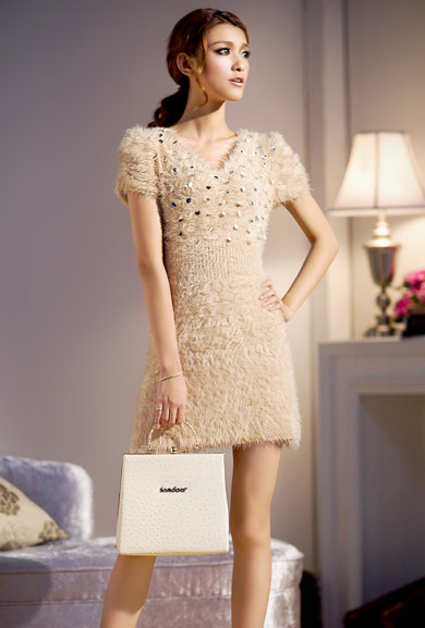 Dress - Midnight Kiss Furry Sequin Mini Dress in Champagne