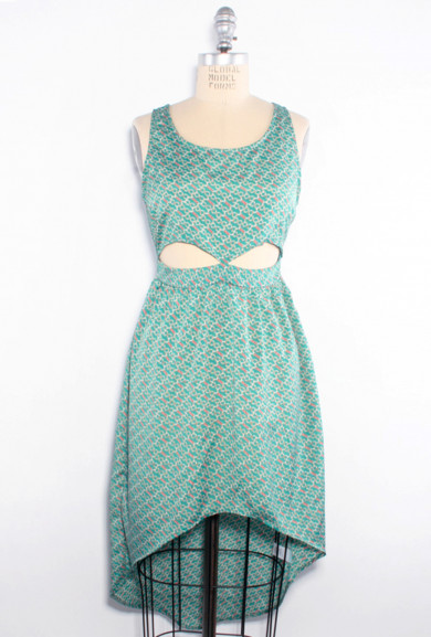 Dress - Mischievous Me Chain Print Cutout Hi-Low Dress in Teal