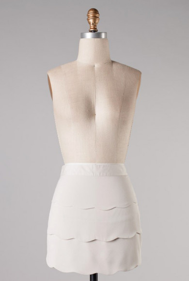 Skirt - Moonlit Path High Waist Scallop Ruffle Skirt in Oyster