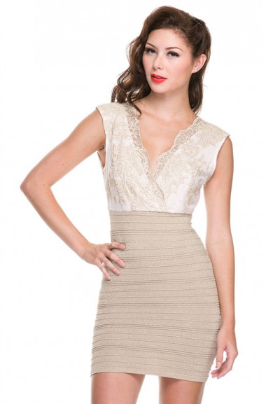 Dress - Moonlit Sparkle Lace Mesh Shimmery Bandage Dress in Gold