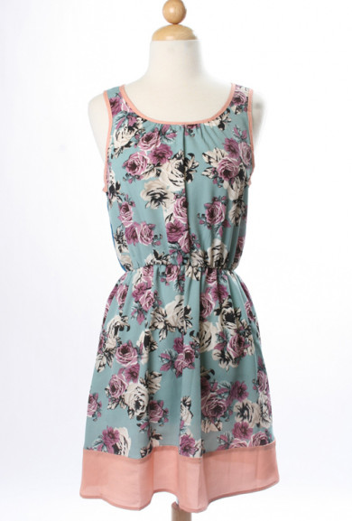 Dress - Music Theory Floral Print Color Block Dress in Blue/Pink
