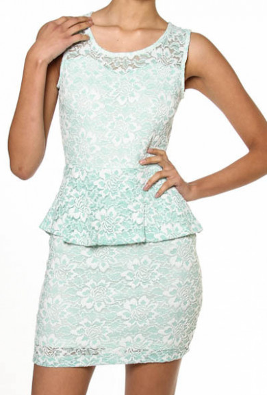 Dress - My Betrothed Floral Lace Peplum Dress in Mint