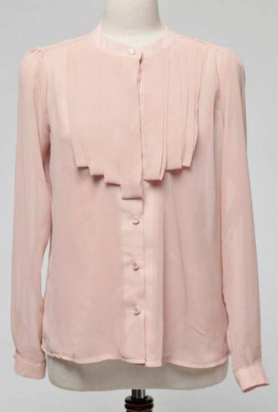 Blouse - My Beloved Pleated Jabot Blouse in Blush Pink