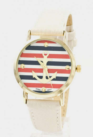 Watch -Nautical Hour Anchor Striped Watch in Ivory