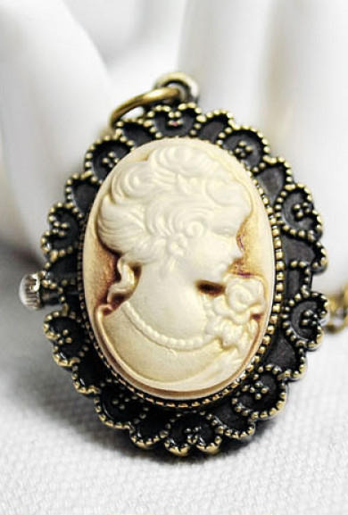 Necklace - Neoclassical Heirloom Cameo Watch Pendant Necklace