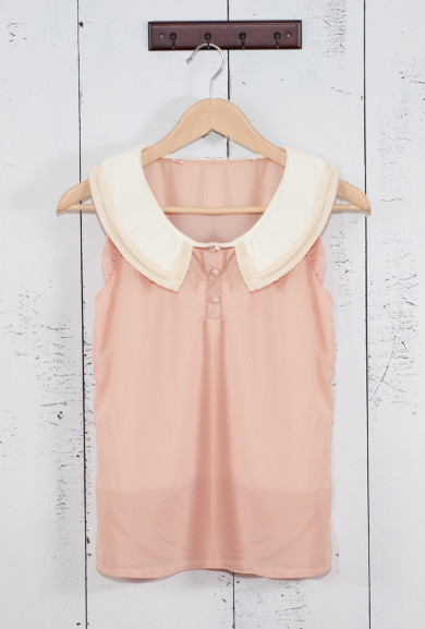Top - Next Chapter Lace Trim Vintage Collar Sleeveless Top in Pink