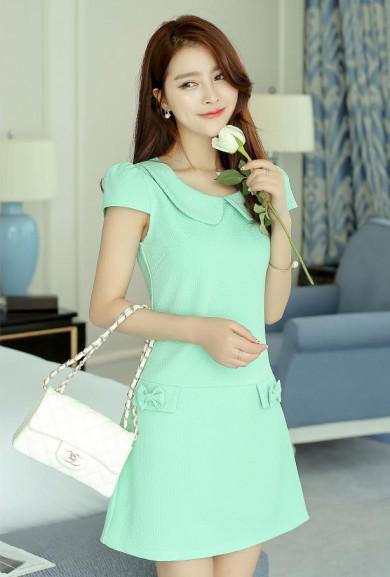 Dress - Office Sweetheart Peter Pan Collar Dress in Mint Green