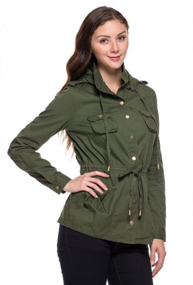 Jacket - Street Trends Olive Military Utility Jacket