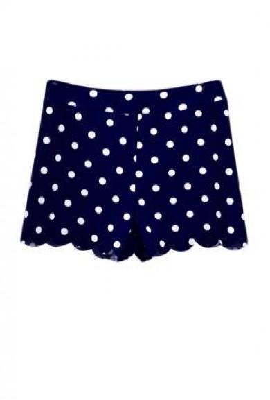 Shorts -On the Edge Polka Dot Print Scallop Hem Shorts in Navy Blue