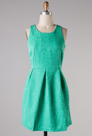 Dress - Opening Ceremony Sleeveless Jacquard Print Dress in Emerald