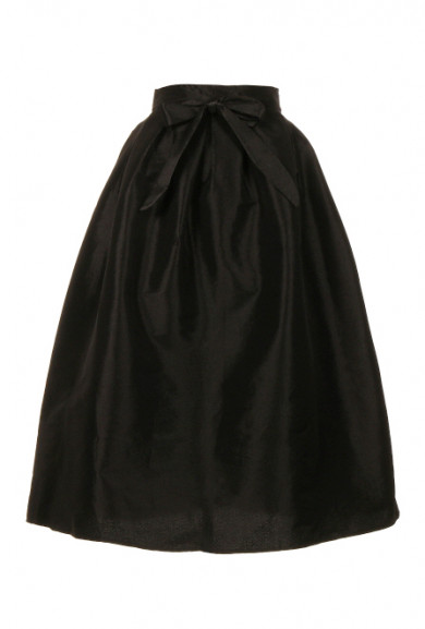 Skirt - Opera Night Taffeta Black Midi Skirt