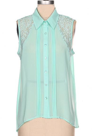 Blouse - Optimist Tendency Pintuck Lace Inset Sleeveless Blouse in Mint