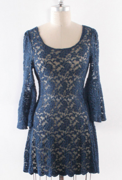 Dress - Palace Tryst Peek-a-Boo Scallop Bell Sleeve Lace Dress in Royal Blue