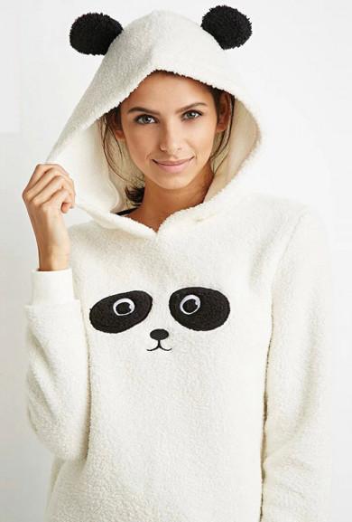Sweater - Happy Panda Fuzzy Hoodie Sweater