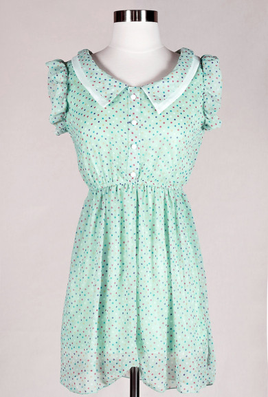 Dress - Pandora's Box Cap Sleeve Multi-color Dotted Dress in Mint Green