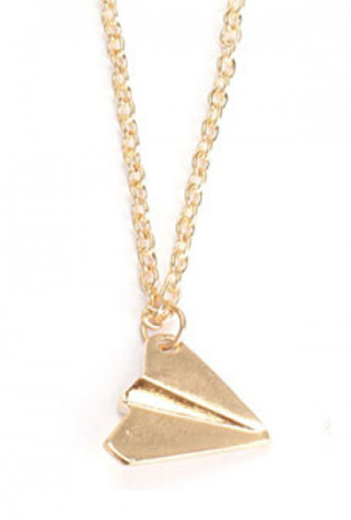 Necklace - Love in the Air Paper Airplane Pendant Necklace in Gold