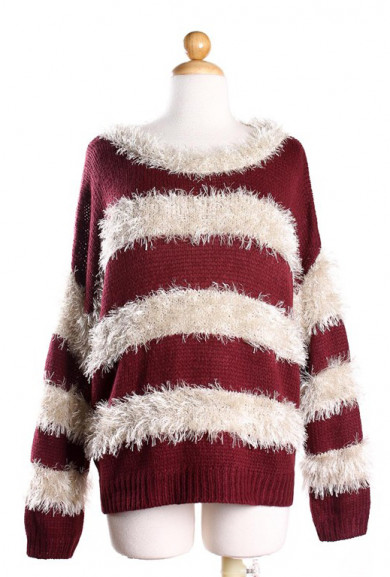 Sweater - Paperback Novel Wine Mohair Stripe Sweater