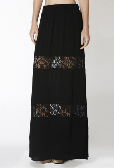 Skirt - Paradise Dreams Lace Paneled Gauze Maxi Skirt in Black