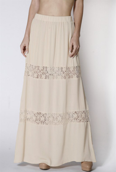 Skirt - Paradise Dreams Lace Paneled Gauze Maxi Skirt in Ivory