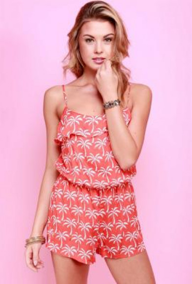 Romper - Paradise Resort Palm Tree Print Romper in Coral