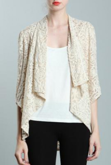Jacket - Parisian Garden Rose Pattern Lace Cascading Collar Jacket in Cream