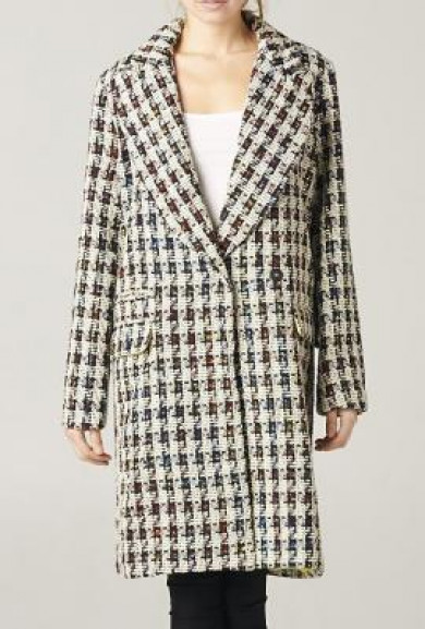 Coat - Parisian Streets Houndstooth Oversized Trench Coat in Beige